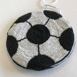 Handbags - Soccer Ball Coin Purse Beaded Wrist Sling Zip New